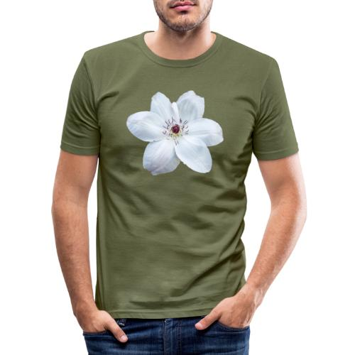 Jalokärhö, valkoinen - Miesten tyköistuva t-paita