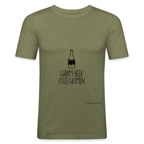 warm beer cold women vk - Mannen slim fit T-shirt