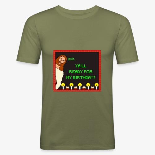 Jesus Geburtstagsparty Ugly Christmas - Männer Slim Fit T-Shirt