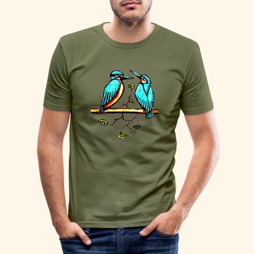 Eisvogel Paar farbe - Männer Slim Fit T-Shirt