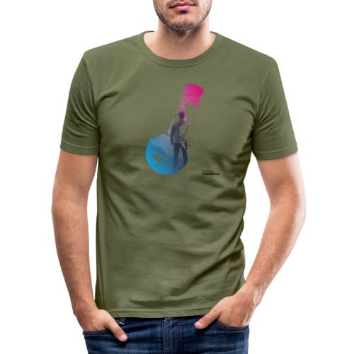 Flaschenpost: Er hört auf die Wissenschaft! - Männer Slim Fit T-Shirt