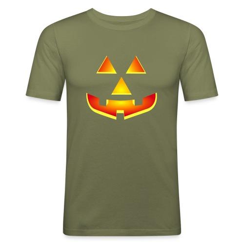 Smiling pumpkin - T Shirt, Halloween, Scary Face - Men's Slim Fit T-Shirt
