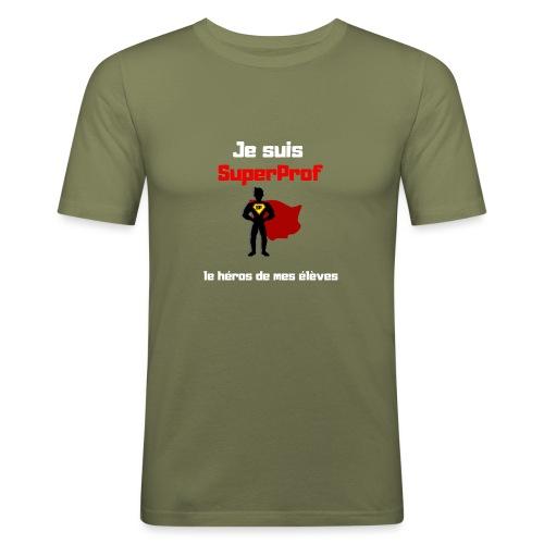t-shirt prof je suis superprof - T-shirt près du corps Homme