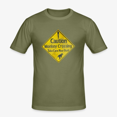 Caution Monkey Crossing - Männer Slim Fit T-Shirt
