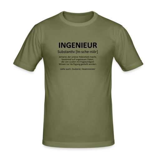 Ingenieur - Substantiv In-sche-niör (schwarz) - Männer Slim Fit T-Shirt