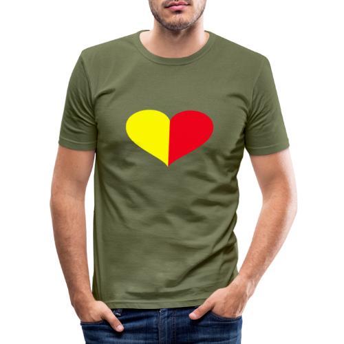 cuore giallorosso pieno - Maglietta aderente da uomo