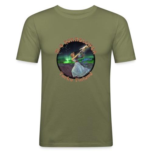 Turku mustareuna - Miesten tyköistuva t-paita