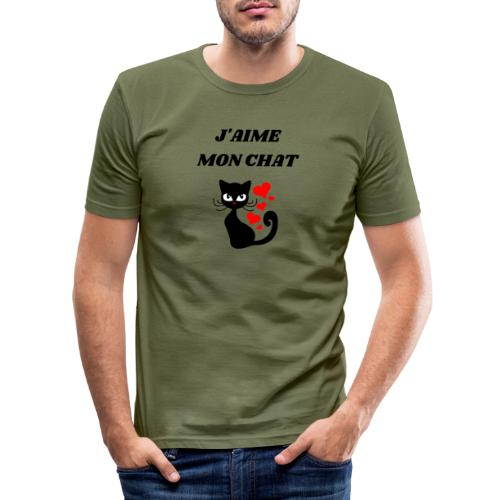 j aime mon chat - T-shirt près du corps Homme