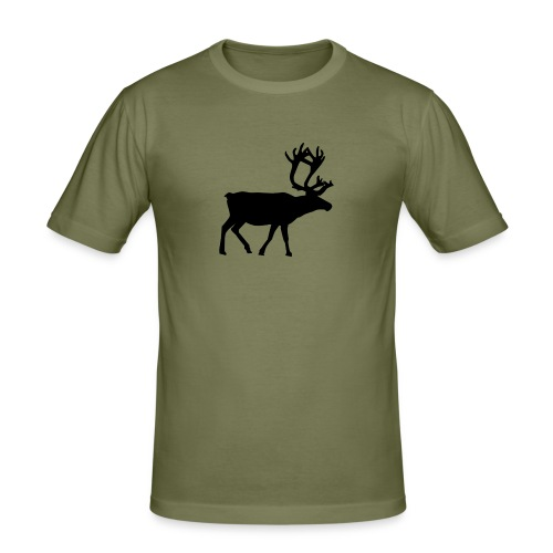 16593-illustrated-silhouette-of-a-reindeer-pv - Slim Fit T-shirt herr