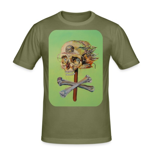 oil painting of skull and bones - slim fit T-shirt