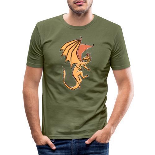 Drache, orange - Männer Slim Fit T-Shirt