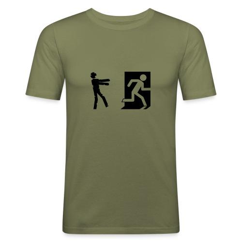 Zombie Invasion Notausgang - Männer Slim Fit T-Shirt