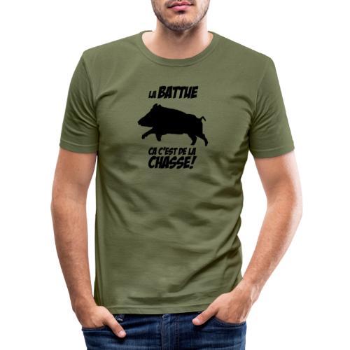 La battue, ça c'est de la chasse (motif sanglier) - T-shirt près du corps Homme