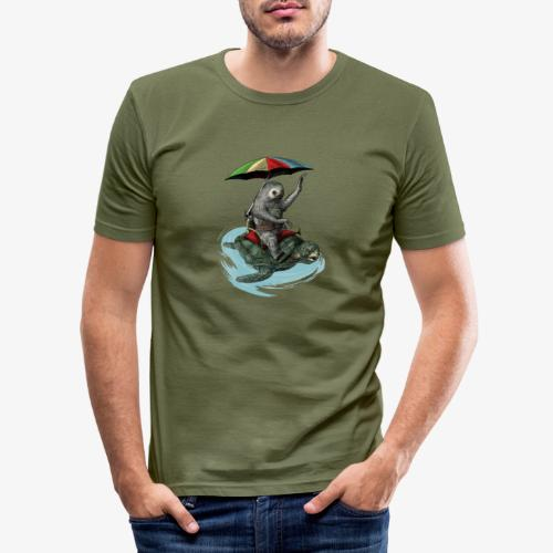 Two toed Sloth riding a turtle - Men's Slim Fit T-Shirt