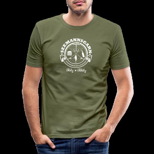 geweihbär Seemannsgarn 3 weiss - Männer Slim Fit T-Shirt