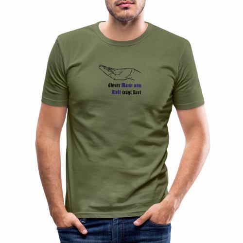 Dieser Mann von Welt trägt Bart - Männer Slim Fit T-Shirt