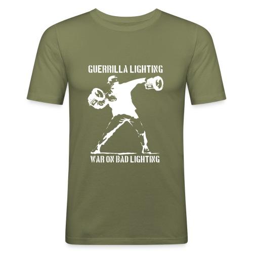 lux bomber whitetransparent - Men's Slim Fit T-Shirt