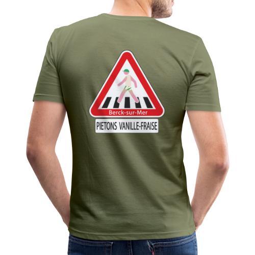 Berck-sur-mer: Piétons Vanille-Fraise - T-shirt près du corps Homme