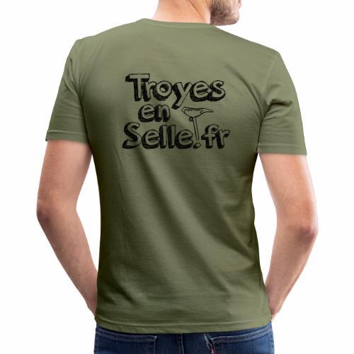 logo Troyes en Selle noir - T-shirt près du corps Homme