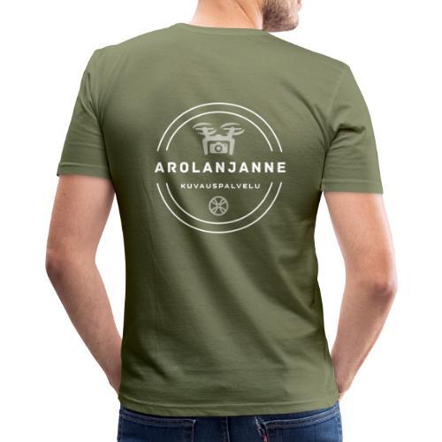 Janne Arola valkoinen - kuva takana - Miesten tyköistuva t-paita