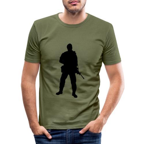 Swedish soldier + SWE Flag - Slim Fit T-shirt herr