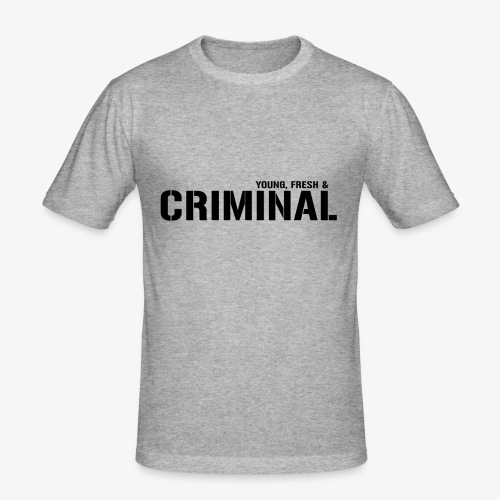 Y F CRIMINAL Logo Black - Männer Slim Fit T-Shirt
