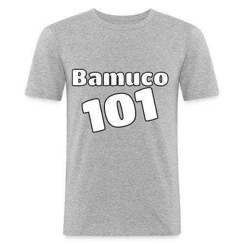 Bamuco101 Big White Logo - Miesten tyköistuva t-paita
