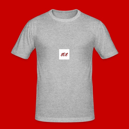 red on white 808 box logo - Men's Slim Fit T-Shirt