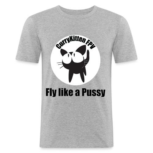 CurryKitten Logo - Fly like a Pussy - Men's Slim Fit T-Shirt