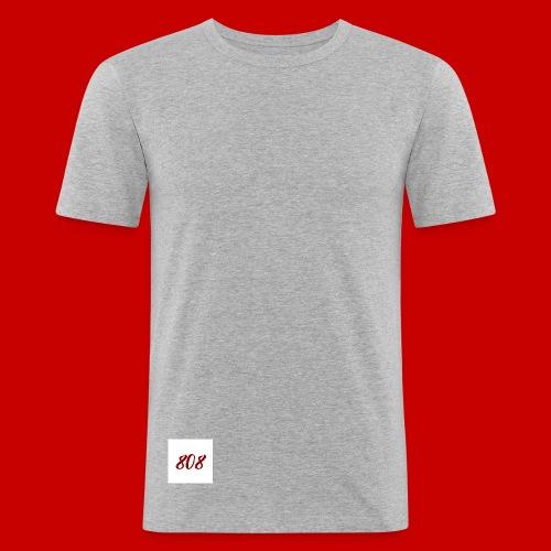 red on white 808 box logo - Men's Slim Fit T-Shirt