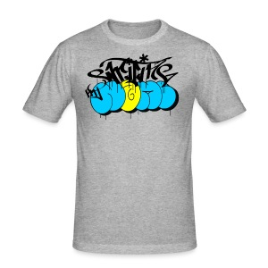 writing my name - graffiti bombing tag - Männer Slim Fit T-Shirt