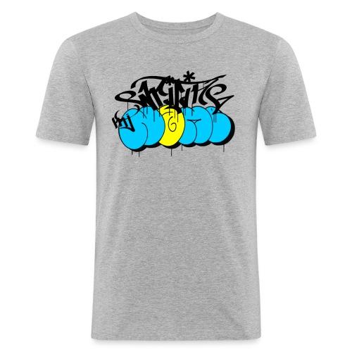 writing my name - graffiti bombing tag - Männer Slim Fit T-Shirt