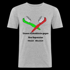 Zahnbürste gegen G20 - Männer Slim Fit T-Shirt