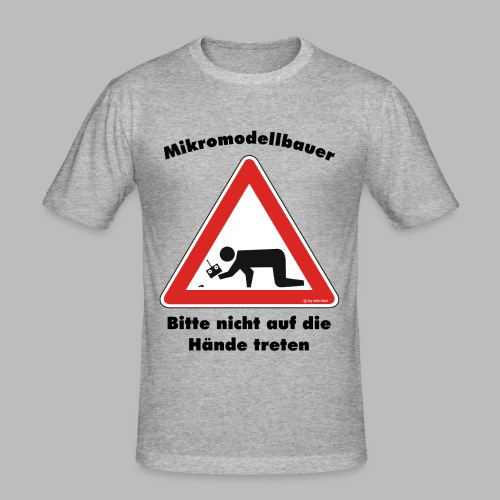Mikromodell Warnschild Hände - Männer Slim Fit T-Shirt