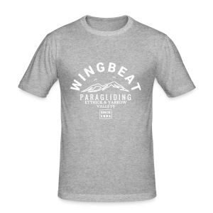 wingbeat logo - big - on back - in white - Men's Slim Fit T-Shirt