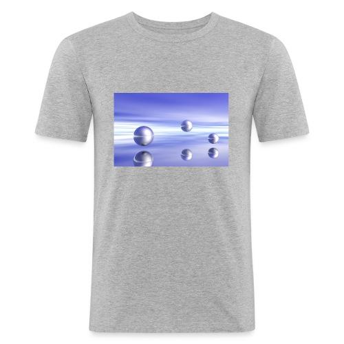 Kugel - Landschaft in 3D - Männer Slim Fit T-Shirt