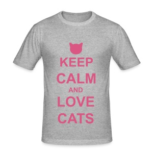 Keep Calm and Love Cats - Pink - Men's Slim Fit T-Shirt