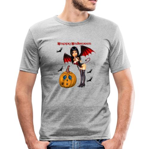 Happy Halloween Kürbis mit Fledermausgirl - Männer Slim Fit T-Shirt