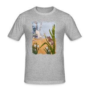 Mice and Pussy Willows Design - Men's Slim Fit T-Shirt