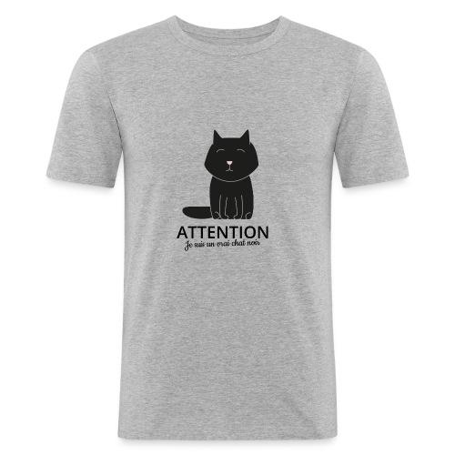 Chat noir - Tee shirt près du corps Homme