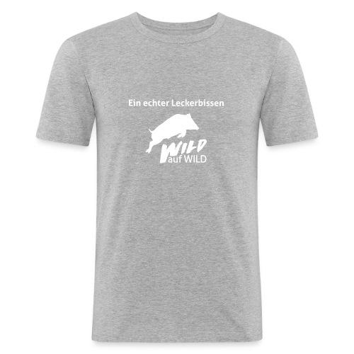Logo Wild auf Wild einfarbig Weiß mit Spruch - Männer Slim Fit T-Shirt
