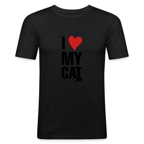 I_LOVE_MY_CAT-png - Camiseta ajustada hombre