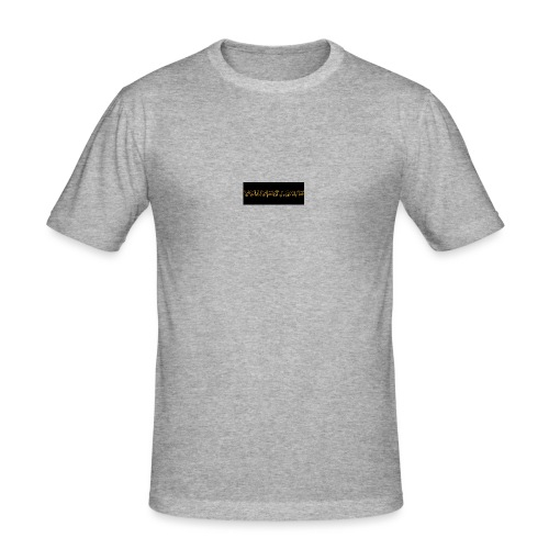 orange writing on black - Men's Slim Fit T-Shirt
