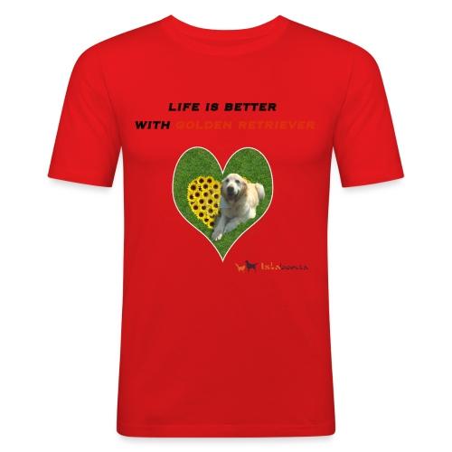 Life Is Better With Golden Retriever - Maglietta aderente da uomo