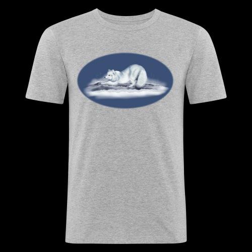 Arctic Fox on snow - Men's Slim Fit T-Shirt