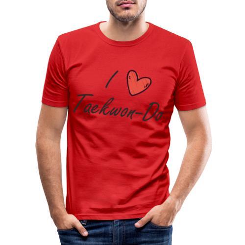 I love taekwondo letras negras - Camiseta ajustada hombre