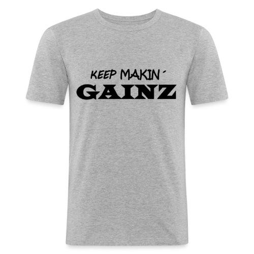 KeepMakin'Gainz_black - Men's Slim Fit T-Shirt