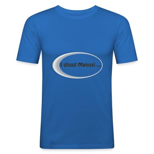 I shoot manual slogan - Men's Slim Fit T-Shirt