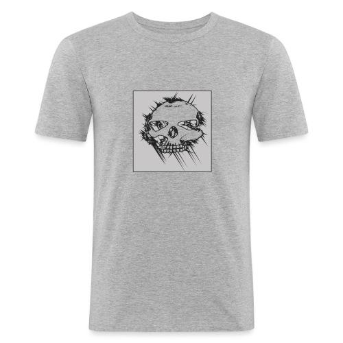 calavera gris - Camiseta ajustada hombre
