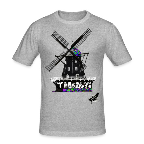 Windmill by BlackenedMoonArts, with logo - Herre Slim Fit T-Shirt